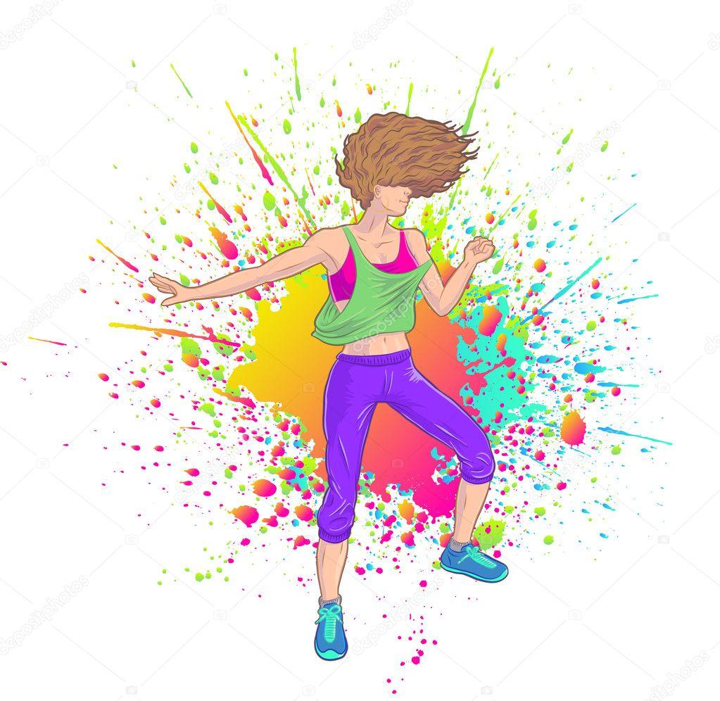 Chica Fitness baile zumba o hacer fiesta — Vector de stock ...