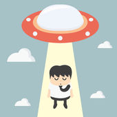 Ufo choosing worker businessman — Stockvector