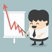 Zakenman met het bedrijfsleven groeiende grafiek — Stockvector