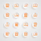 button shadows Book icons — Stock Vector