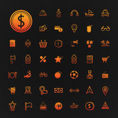 46 ikony zakupy i podróże wektor zestaw — Wektor stockowy