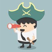 Businessman Pirates  the Hunt — Stock Vector
