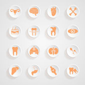 Body Icons button shadows  vector set — Stock Vector