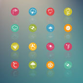 Icons weather  Circle Series on  Retina background - eps.10 — Stock vektor