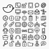 Communication and transportaion icon set — Stock Vector
