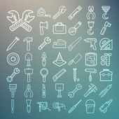 Tools and Equipment icons Set on Retina background — Stock Vector