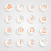 Science Series Icons button shadows  vector set — Stock Vector