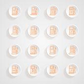 Gas pump Icons button shadows  vector set — Stock Vector