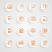 Medical Icons  button shadows  vector set — Stock Vector
