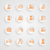 Finance icons button shadows  vector set — Stock Vector