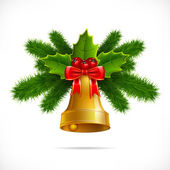 Christmas bell on a white background — Stock Vector