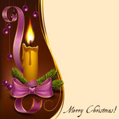 Christmas lighted candle with beads — Stok Vektör