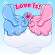 Winged baby elephant in love — Stock Vector