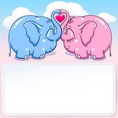 Baby elephant in love banner — Stock Vector
