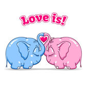Baby elephant in love on white — Stock Vector