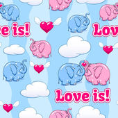 Baby elephant in love pattern — Stock Vector