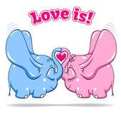 Winged baby elephant in love on white — Stock Vector