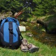 Stock Photo: Trek with backpack