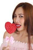 Woman happy in candy shape heart 5 — Stock Photo