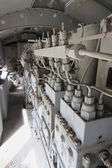 Engines diesel in locomotive in vertical — Stock Photo