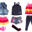 Collage of children clothes.Isolated. — Stock Photo