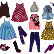 Collage of kids clothing — Stockfoto