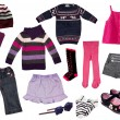Collage of girl clothing. — Stock Photo