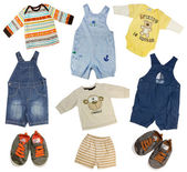 Collage of boy clothing isolated on white. — Stock Photo