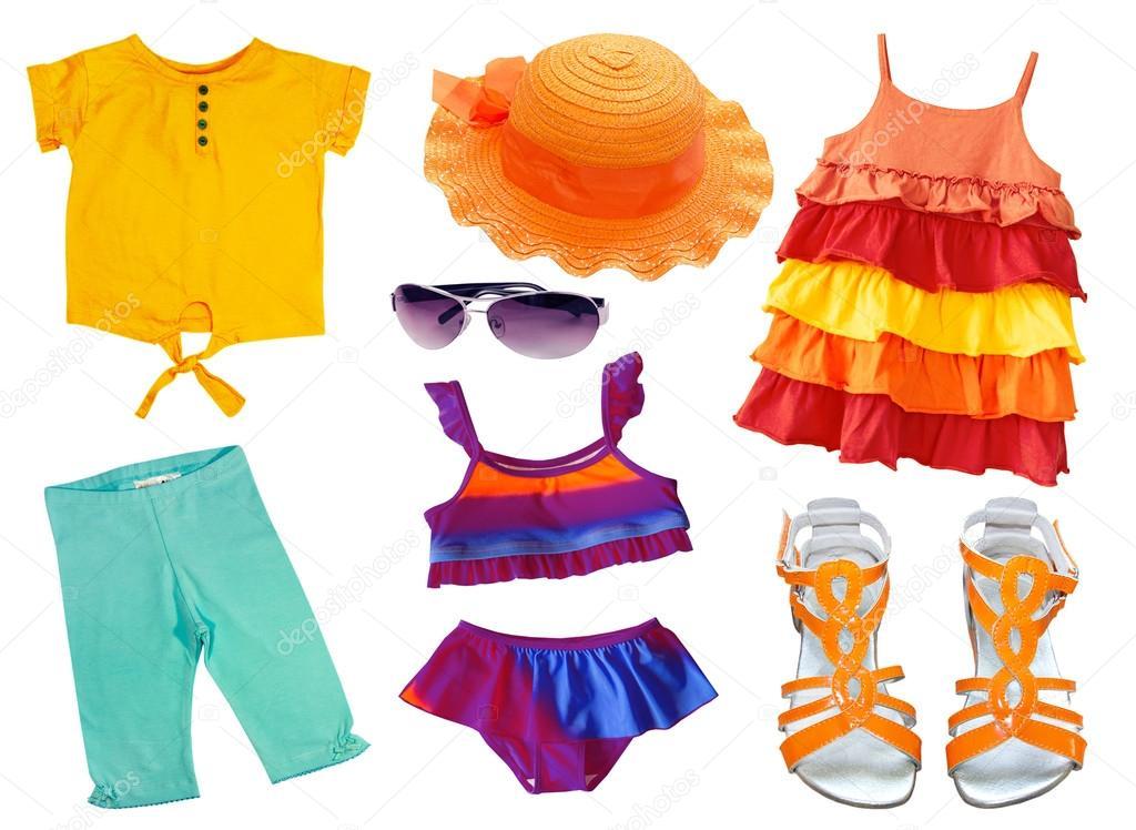 夏天衣服和饰物上白色孤立。孩子的衣服 C 图库照片 169 Nys#46042277