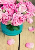 Vintage roses in vase.Indoor. — Stock Photo