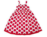 Female kid dress in red spots isolated on white. Girl party wear — Stock Photo
