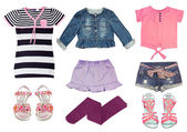 Collag set of female kid clothes isolated on white. — Foto Stock