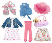 Сollage set gril clothes. — Stock Photo