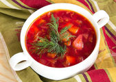 Borsch in white bowl . Red beetroot traditional soup. — Stock Photo