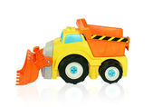 Helle Bagger Spielzeugauto. isolierte track. — Stockfoto