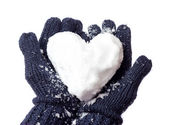 Lady's gloves and snow heart — Stock Photo