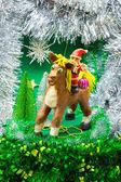 Babbo natale cavalca un cavallo nell'anno del cavallo — Foto Stock