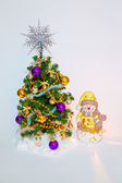 Christmas tree, decorated with snowman — Stock Photo