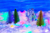 Silver housе and snow — Foto de Stock