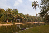 Boat in a tropical lake in Hanoi — Stock Photo