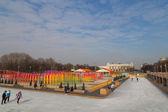 Ice rink in winter Gorky Park — Stock Photo