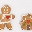 Gingerbread man and a house with a pipe — Stock Photo