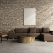 Concrete brick wall village interior, vintage design style — Photo