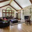 Family room with stone fireplace — Stock Photo