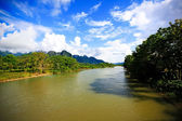 Natural scenic view of river at Vang Vieng — Stock Photo