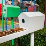 Lovely Wooden tree plantation and bird house — Stock Photo