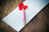 Notebook with heart — Stockfoto