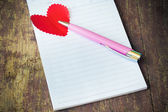 Notebook with heart — Stock fotografie
