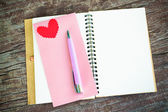 Notebook with heart — Stock Photo