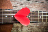 The retro guitar for the lover in Valentine's day. — Stock Photo